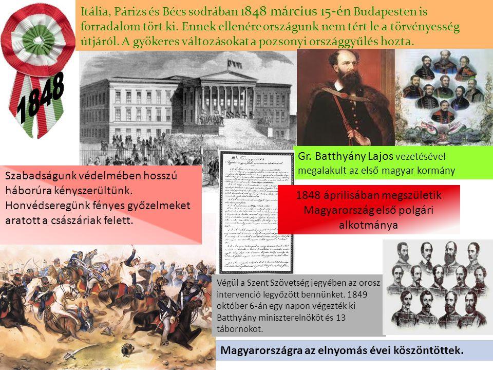 1848 áprilisában megszületik Magyarország első polgári alkotmánya