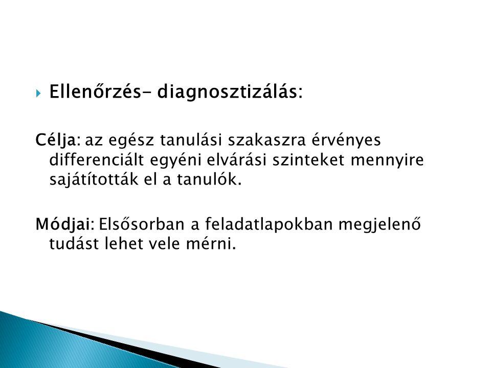 Ellenőrzés- diagnosztizálás: