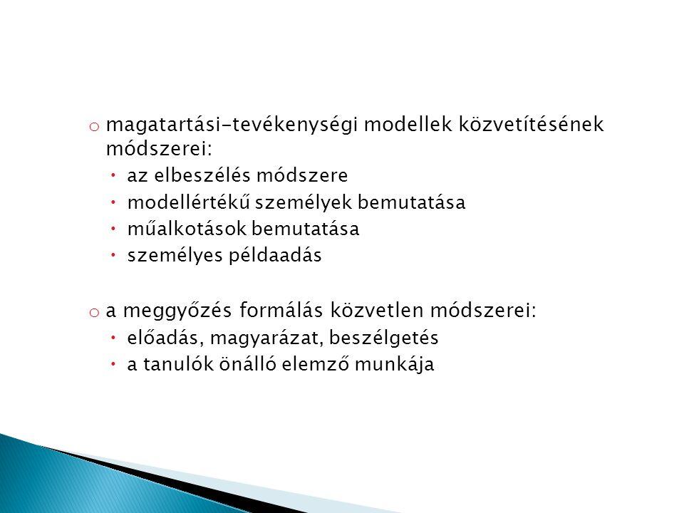 magatartási-tevékenységi modellek közvetítésének módszerei: