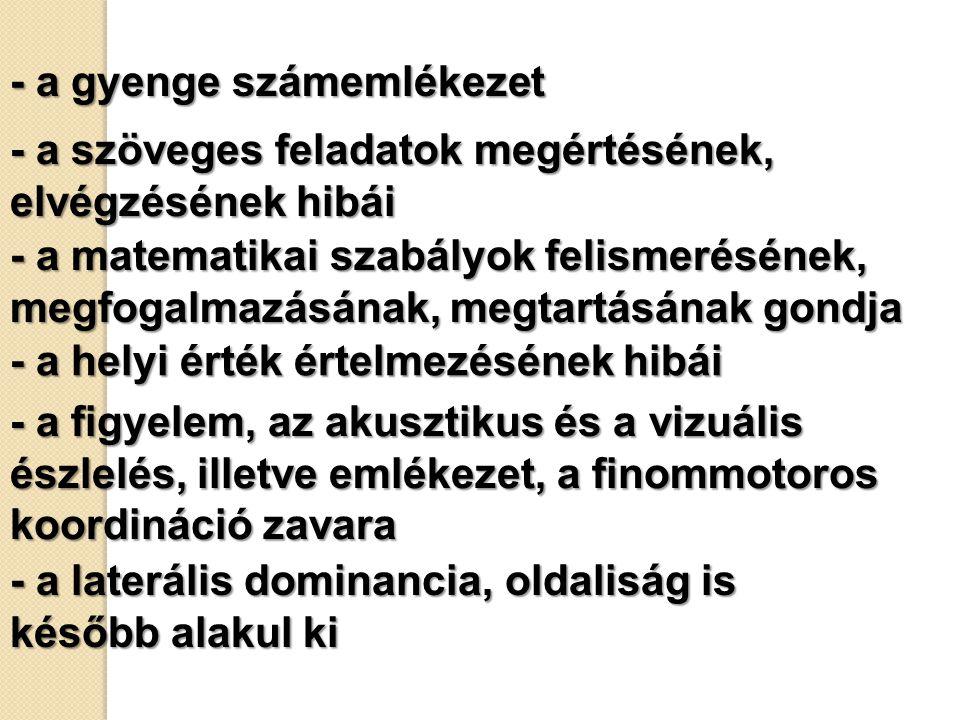 - a gyenge számemlékezet