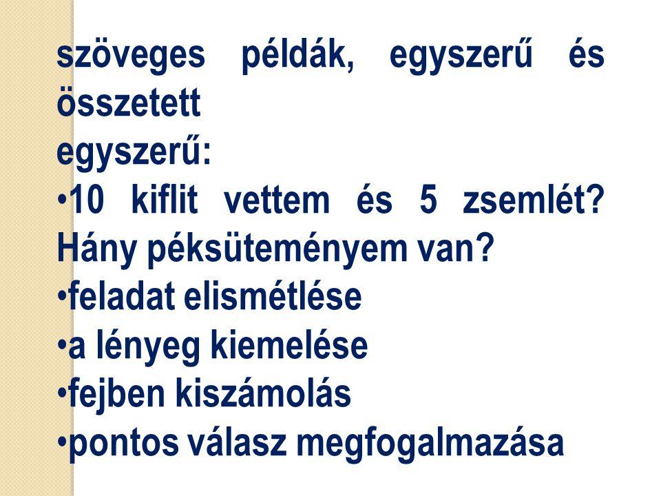 szöveges példák, egyszerű és összetett