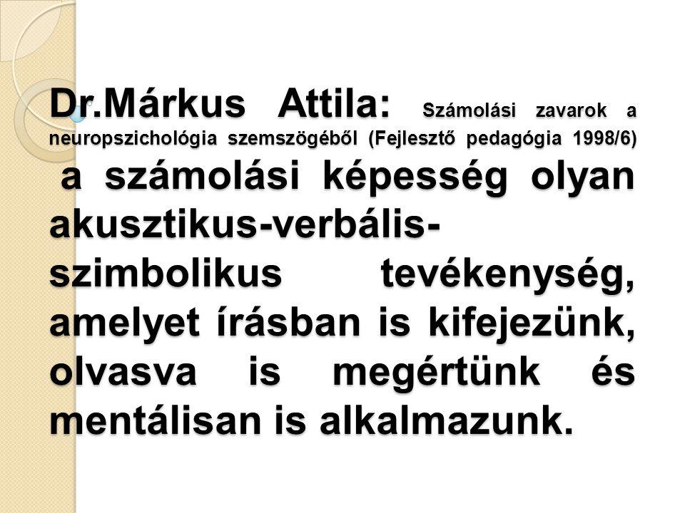 Dr.Márkus Attila: Számolási zavarok a neuropszichológia szemszögéből (Fejlesztő pedagógia 1998/6) a számolási képesség olyan akusztikus-verbális-szimbolikus tevékenység, amelyet írásban is kifejezünk, olvasva is megértünk és mentálisan is alkalmazunk.