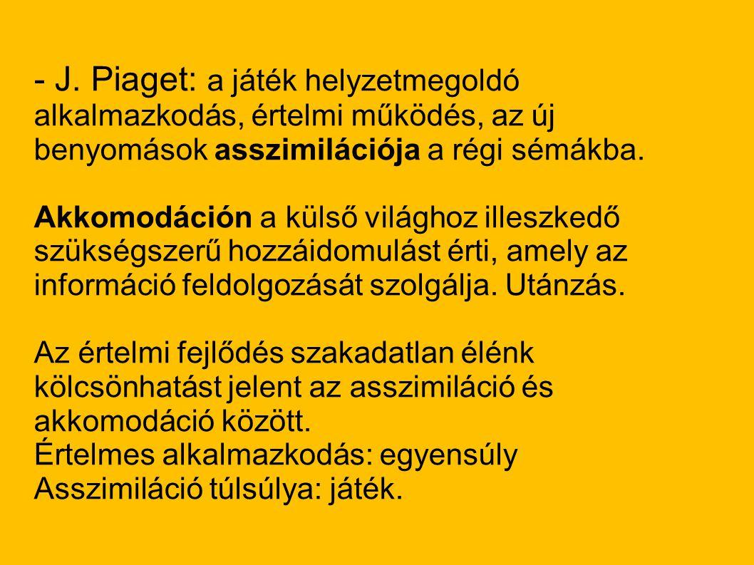 - J. Piaget: a játék helyzetmegoldó alkalmazkodás, értelmi működés, az új benyomások asszimilációja a régi sémákba.