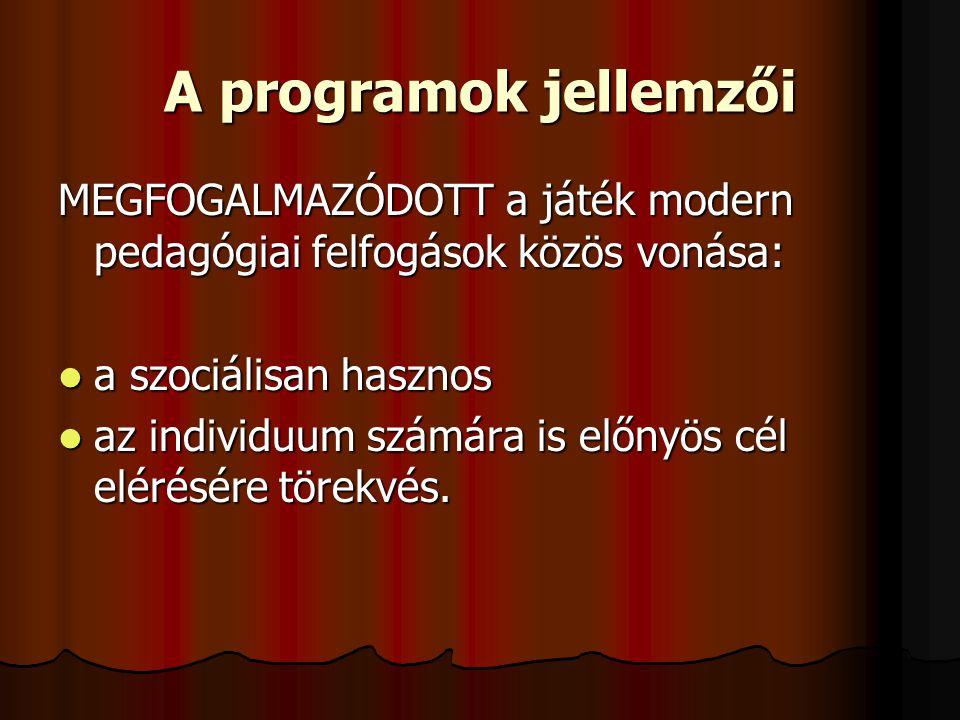 A programok jellemzői MEGFOGALMAZÓDOTT a játék modern pedagógiai felfogások közös vonása: a szociálisan hasznos.