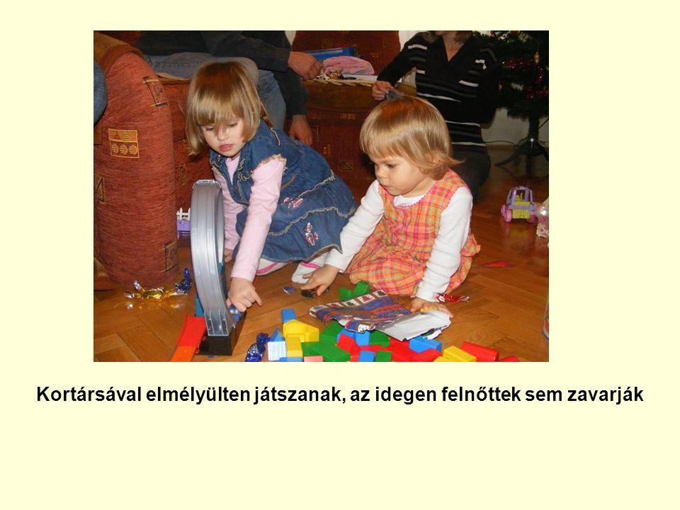 Kortársával elmélyülten játszanak, az idegen felnőttek sem zavarják