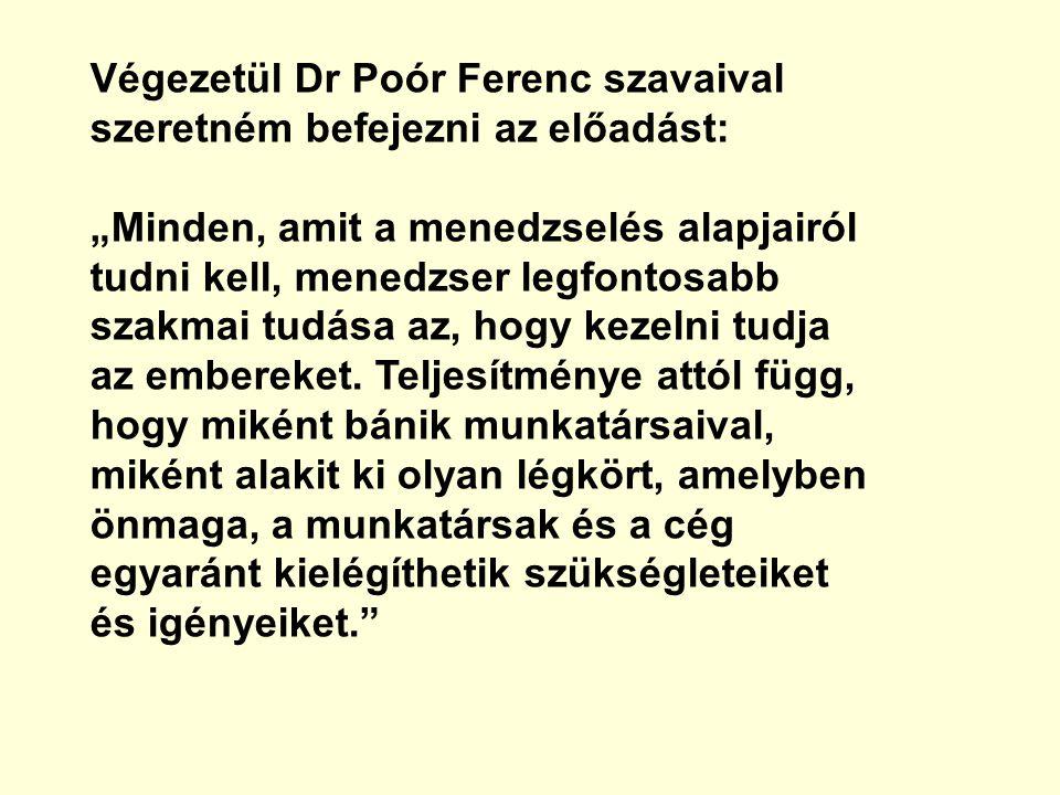 Végezetül Dr Poór Ferenc szavaival szeretném befejezni az előadást:
