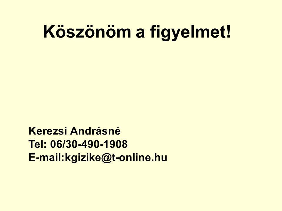 Köszönöm a figyelmet! Kerezsi Andrásné Tel: 06/30-490-1908