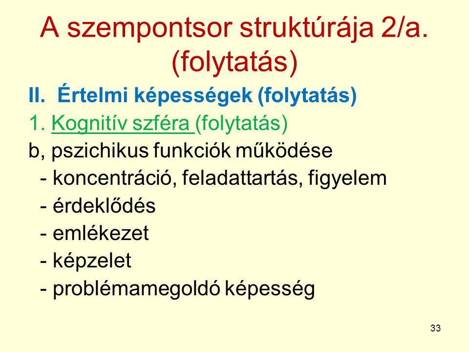 A szempontsor struktúrája 2/a. (folytatás)