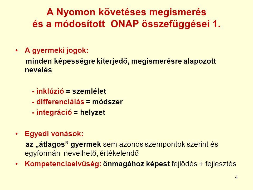A Nyomon követéses megismerés és a módosított ONAP összefüggései 1.