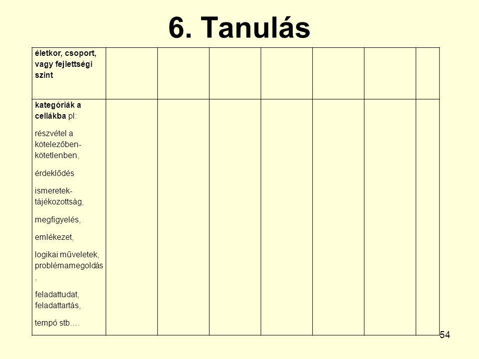 6. Tanulás életkor, csoport, vagy fejlettségi szint