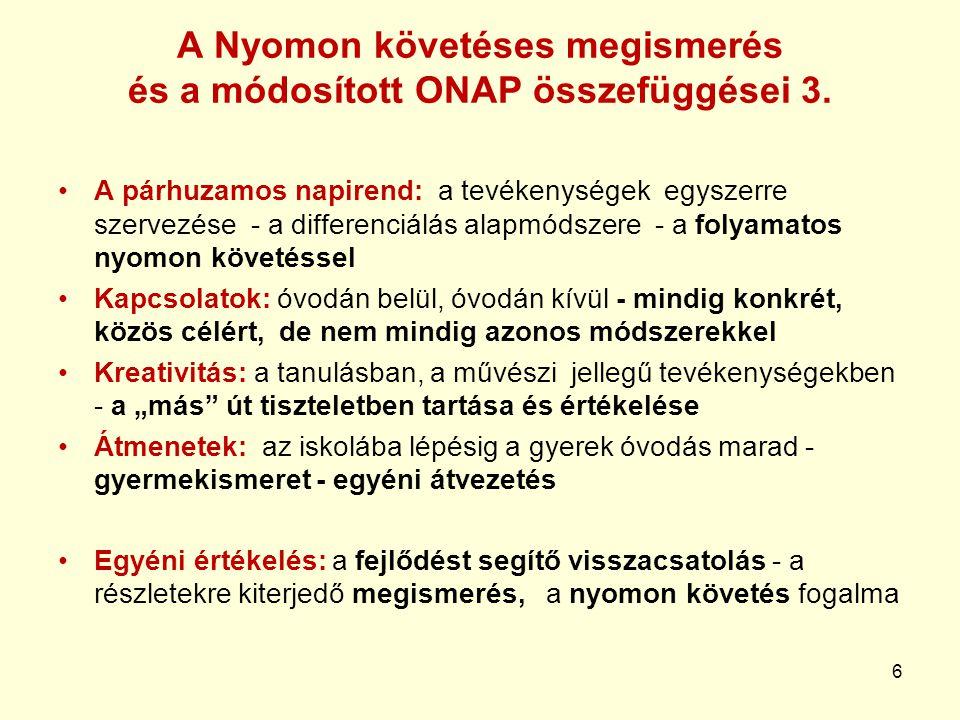 A Nyomon követéses megismerés és a módosított ONAP összefüggései 3.