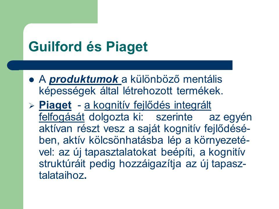Guilford és Piaget A produktumok a különböző mentális képességek által létrehozott termékek.