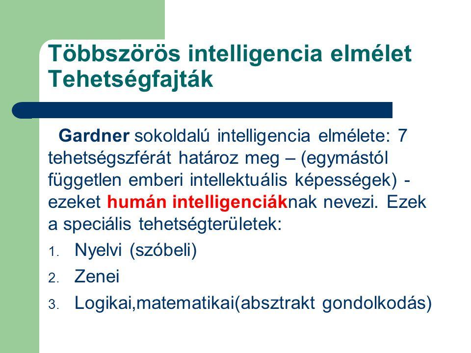Többszörös intelligencia elmélet Tehetségfajták