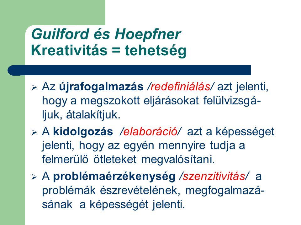 Guilford és Hoepfner Kreativitás = tehetség