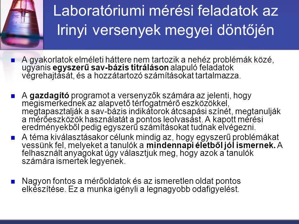 Laboratóriumi mérési feladatok az Irinyi versenyek megyei döntőjén