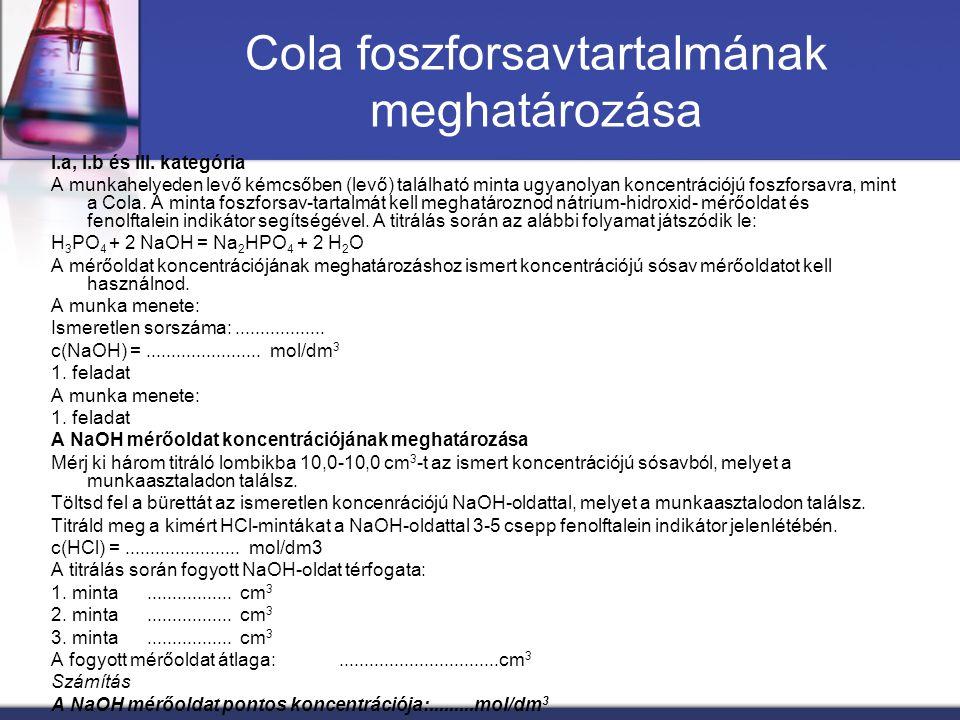 Cola foszforsavtartalmának meghatározása