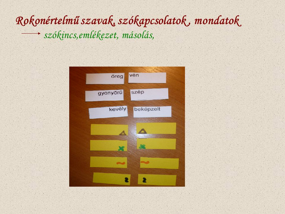 Rokonértelmű szavak, szókapcsolatok , mondatok
