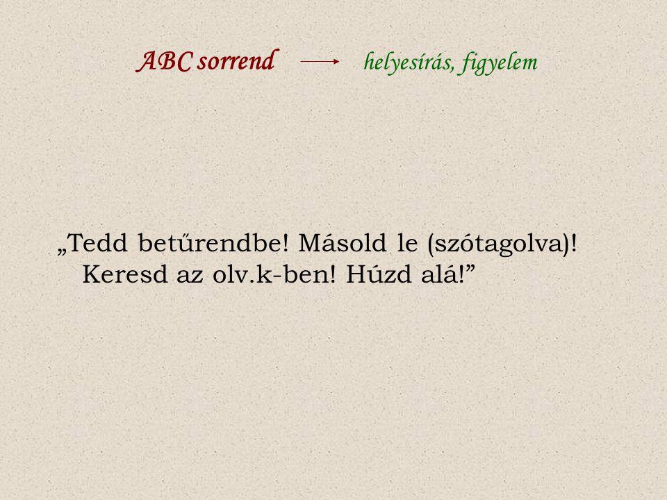 ABC sorrend helyesírás, figyelem