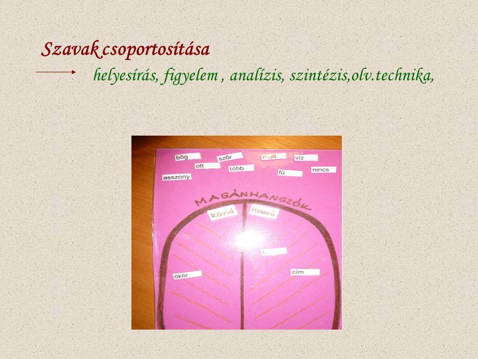 Szavak csoportosítása helyesírás, figyelem , analízis, szintézis,olv