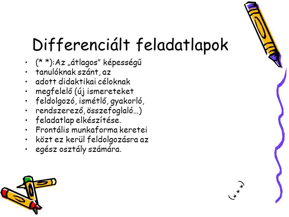 Differenciált feladatlapok