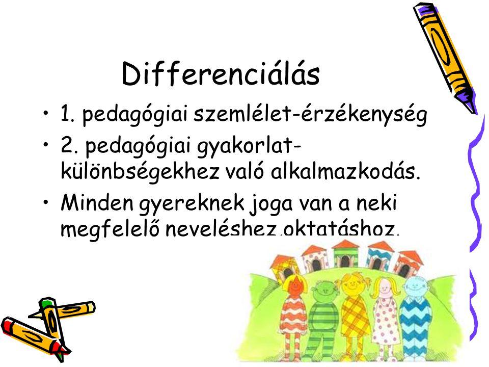 Differenciálás 1. pedagógiai szemlélet-érzékenység