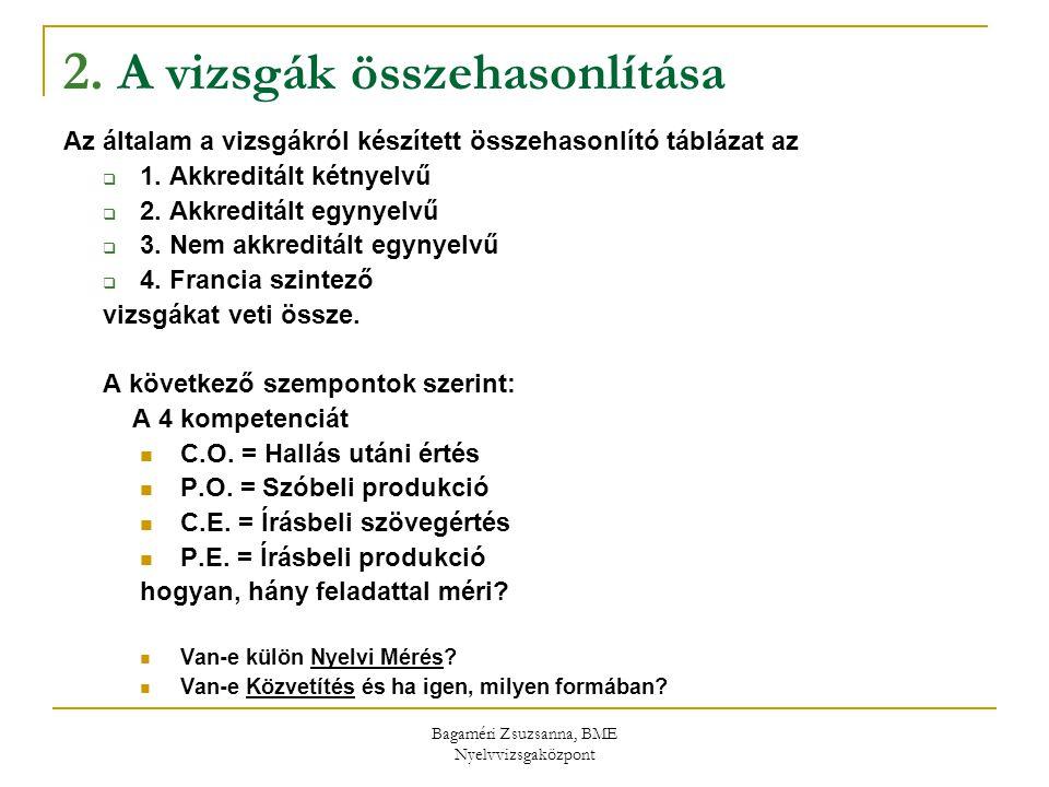 2. A vizsgák összehasonlítása