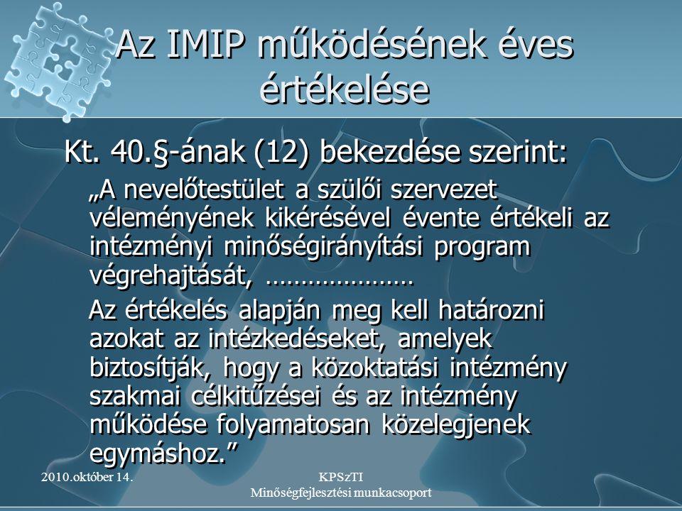 Az IMIP működésének éves értékelése