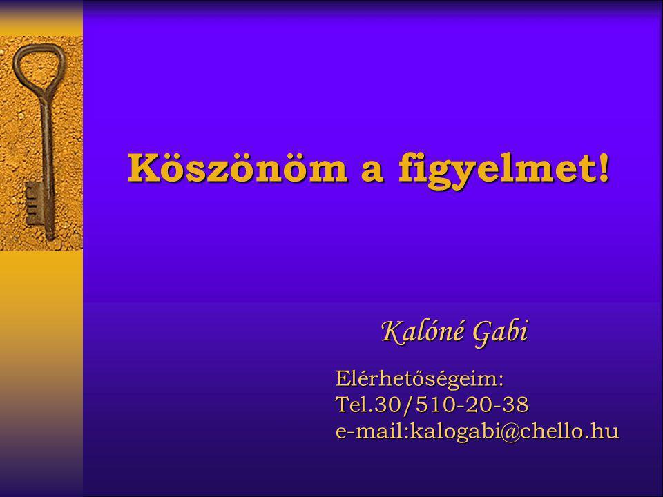 Köszönöm a figyelmet! Kalóné Gabi Elérhetőségeim: Tel.30/510-20-38