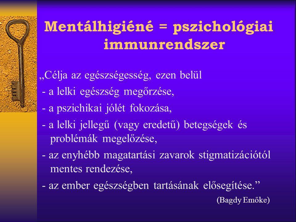 Mentálhigiéné = pszichológiai immunrendszer