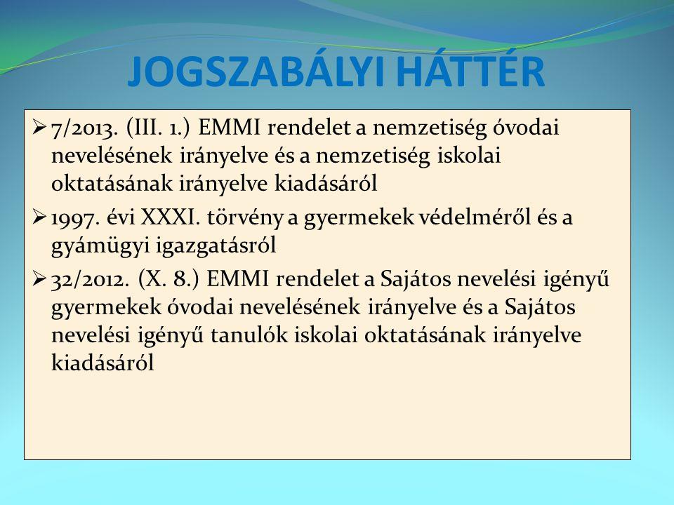 JOGSZABÁLYI HÁTTÉR 7/2013. (III. 1.) EMMI rendelet a nemzetiség óvodai nevelésének irányelve és a nemzetiség iskolai oktatásának irányelve kiadásáról.