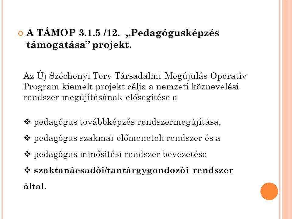 """A TÁMOP 3.1.5 /12. """"Pedagógusképzés támogatása projekt."""