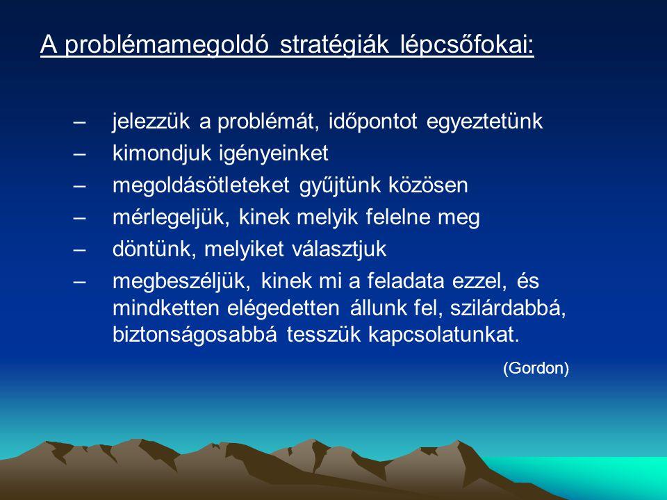 A problémamegoldó stratégiák lépcsőfokai: