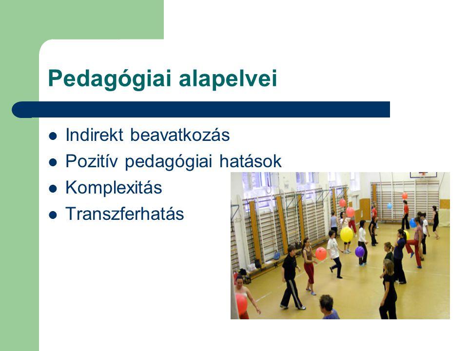 Pedagógiai alapelvei Indirekt beavatkozás Pozitív pedagógiai hatások