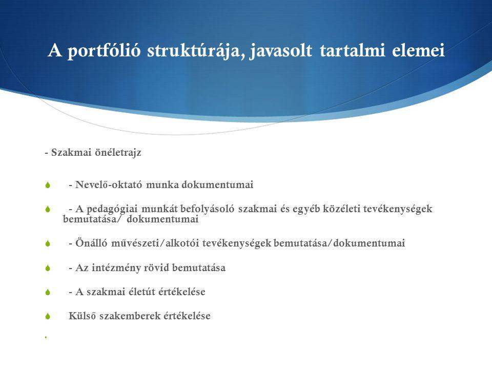 A portfólió struktúrája, javasolt tartalmi elemei