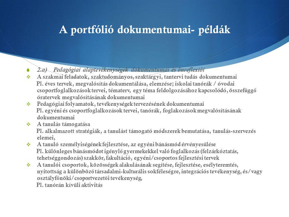 A portfólió dokumentumai- példák