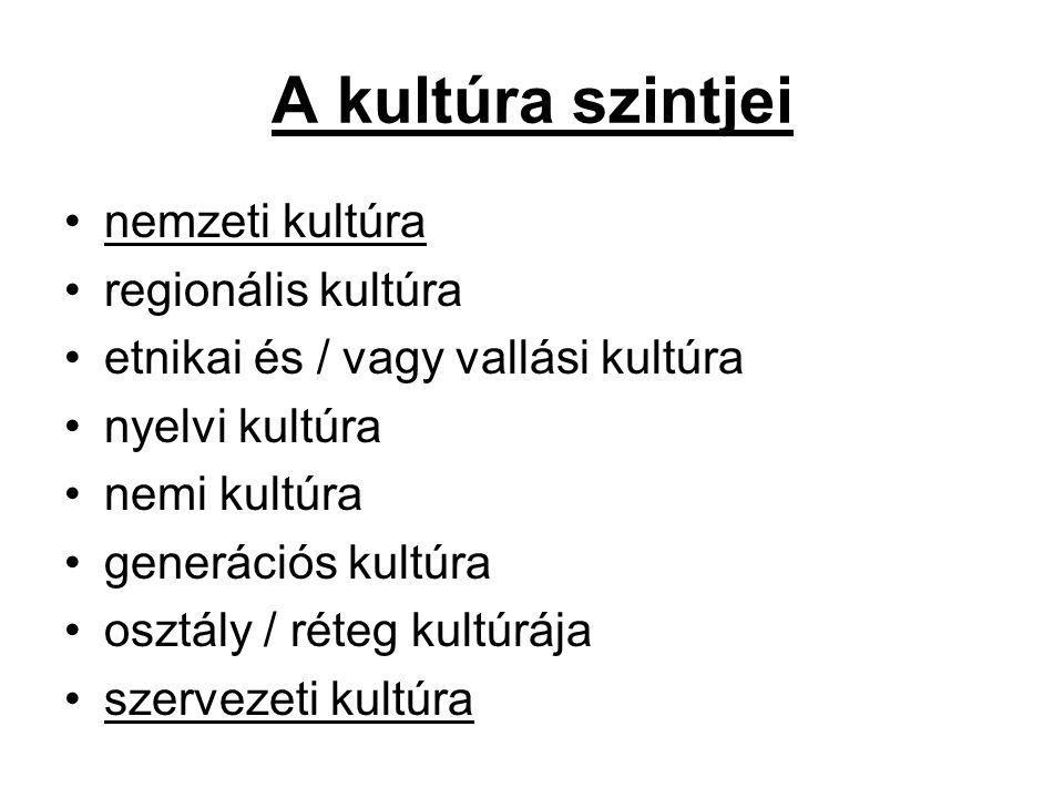 A kultúra szintjei nemzeti kultúra regionális kultúra
