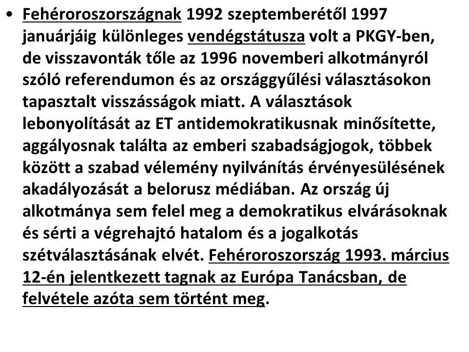 Fehéroroszországnak 1992 szeptemberétől 1997 januárjáig különleges vendégstátusza volt a PKGY-ben, de visszavonták tőle az 1996 novemberi alkotmányról szóló referendumon és az országgyűlési választásokon tapasztalt visszásságok miatt.