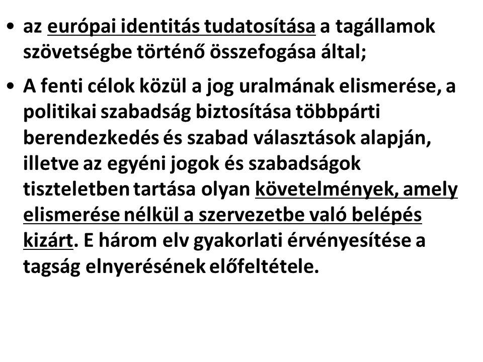 az európai identitás tudatosítása a tagállamok szövetségbe történő összefogása által;