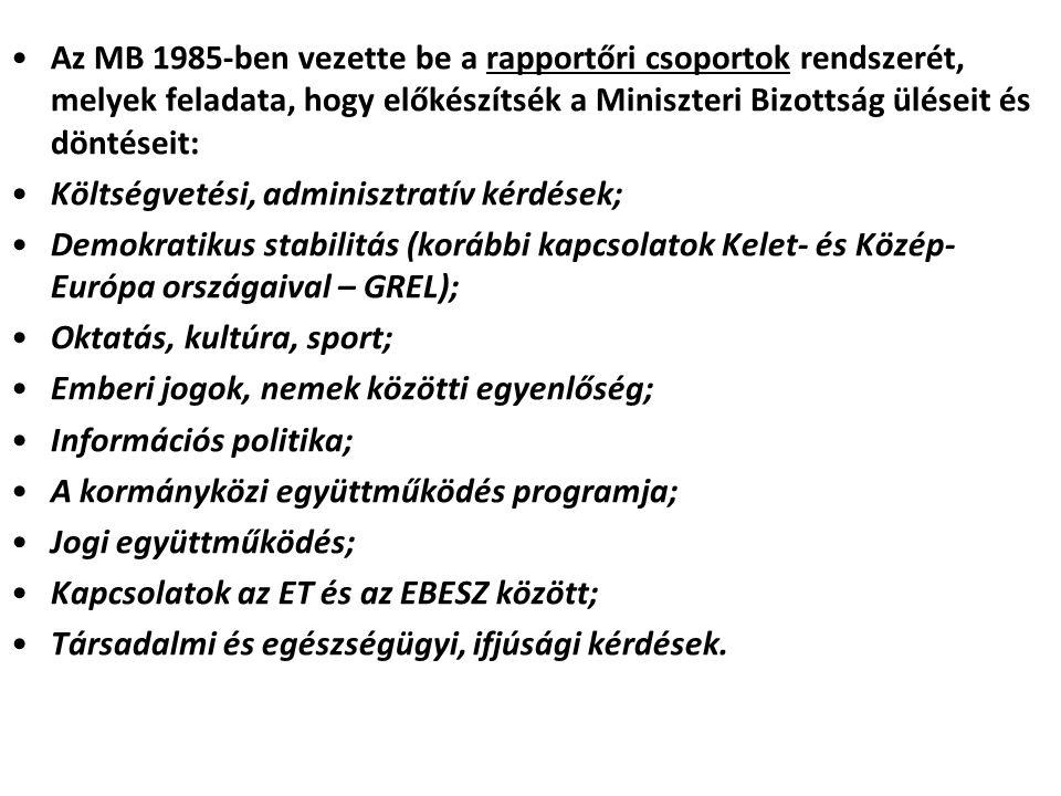 Az MB 1985-ben vezette be a rapportőri csoportok rendszerét, melyek feladata, hogy előkészítsék a Miniszteri Bizottság üléseit és döntéseit: