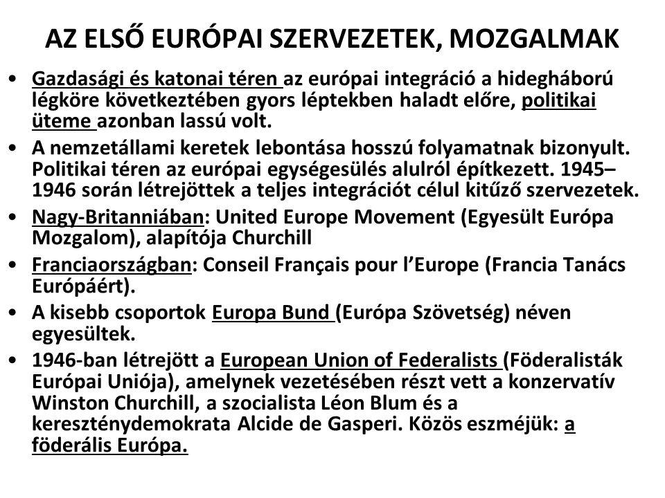 AZ ELSŐ EURÓPAI SZERVEZETEK, MOZGALMAK