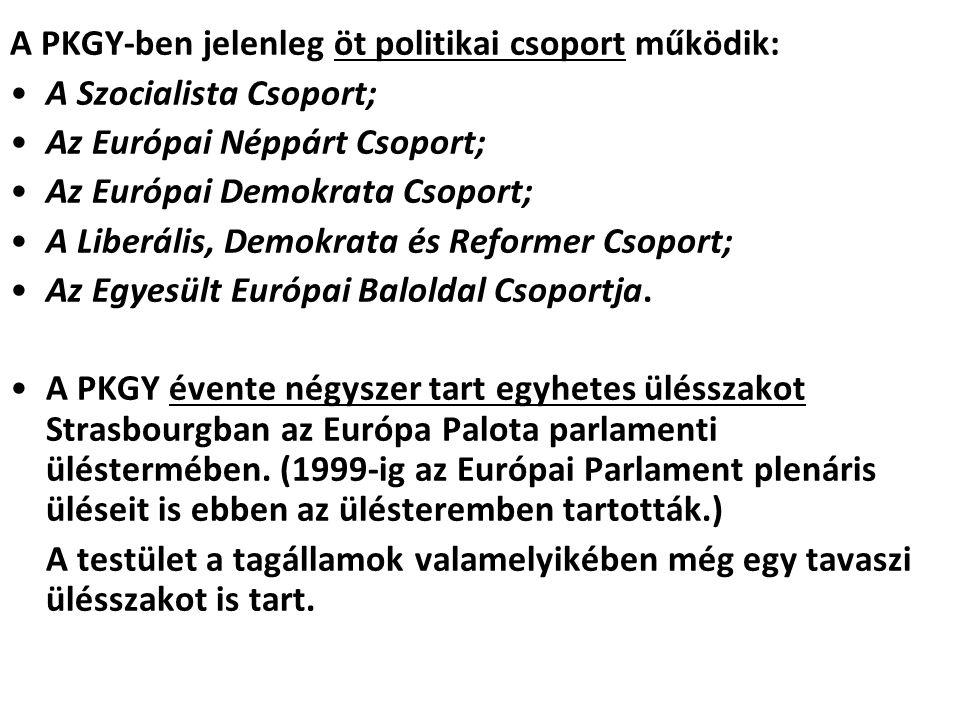 A PKGY-ben jelenleg öt politikai csoport működik: