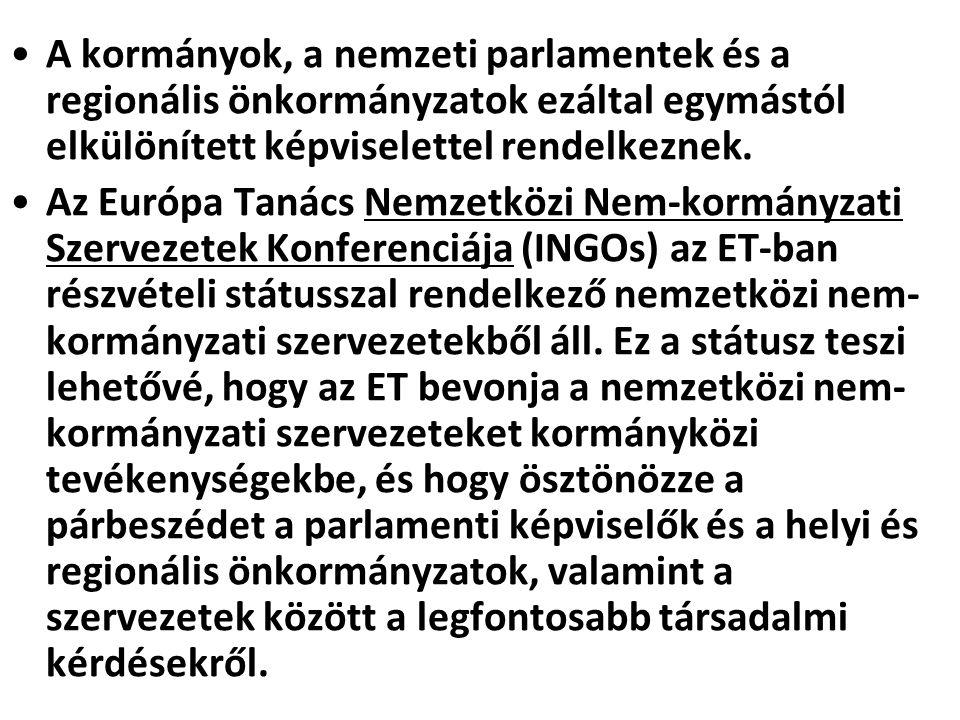 A kormányok, a nemzeti parlamentek és a regionális önkormányzatok ezáltal egymástól elkülönített képviselettel rendelkeznek.