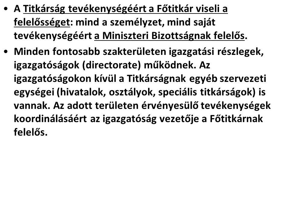 A Titkárság tevékenységéért a Főtitkár viseli a felelősséget: mind a személyzet, mind saját tevékenységéért a Miniszteri Bizottságnak felelős.