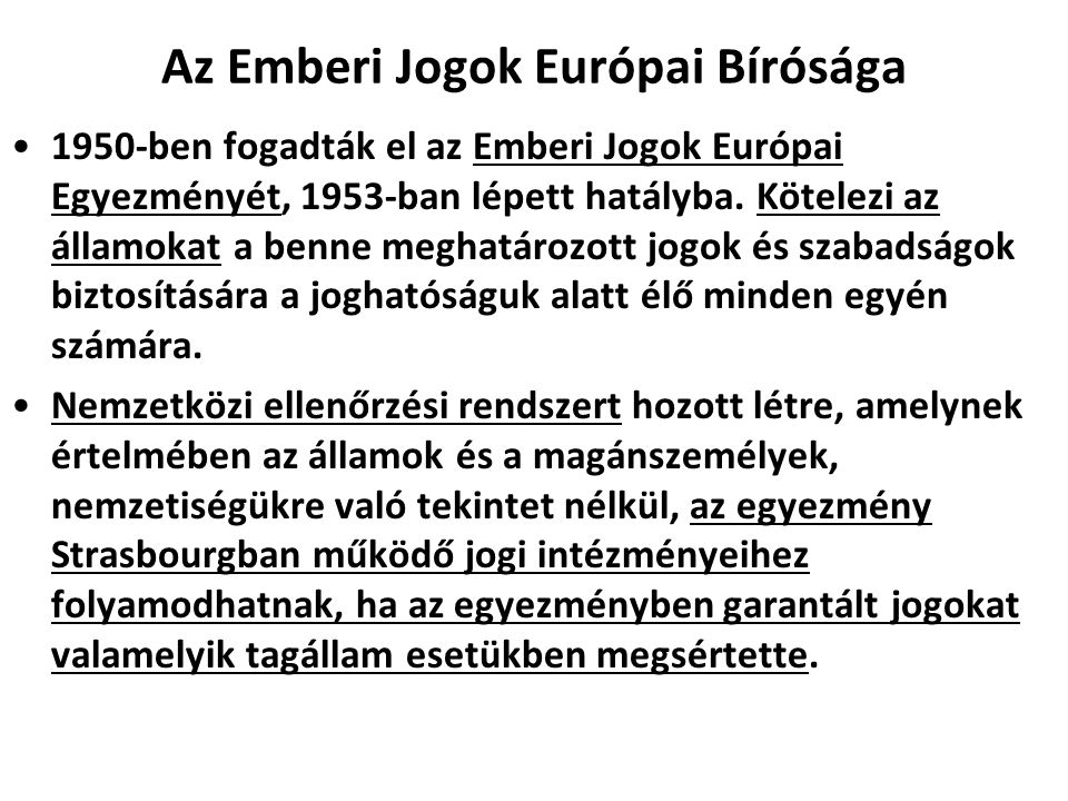 Az Emberi Jogok Európai Bírósága