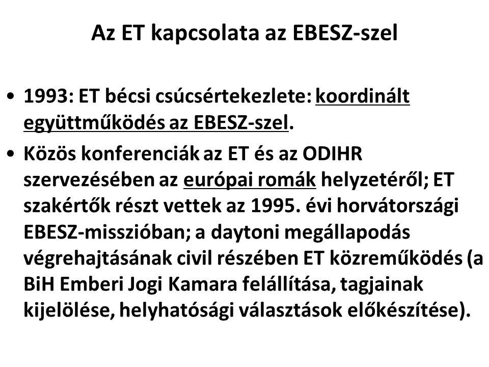 Az ET kapcsolata az EBESZ-szel