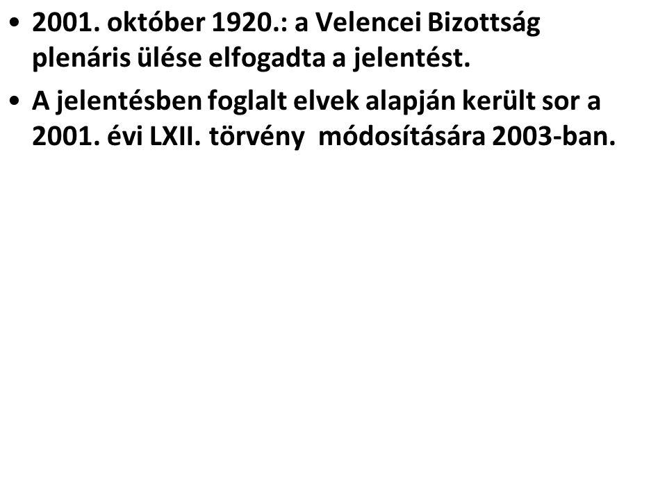 2001. október 1920.: a Velencei Bizottság plenáris ülése elfogadta a jelentést.