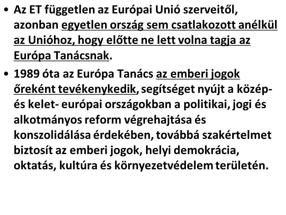 Az ET független az Európai Unió szerveitől, azonban egyetlen ország sem csatlakozott anélkül az Unióhoz, hogy előtte ne lett volna tagja az Európa Tanácsnak.