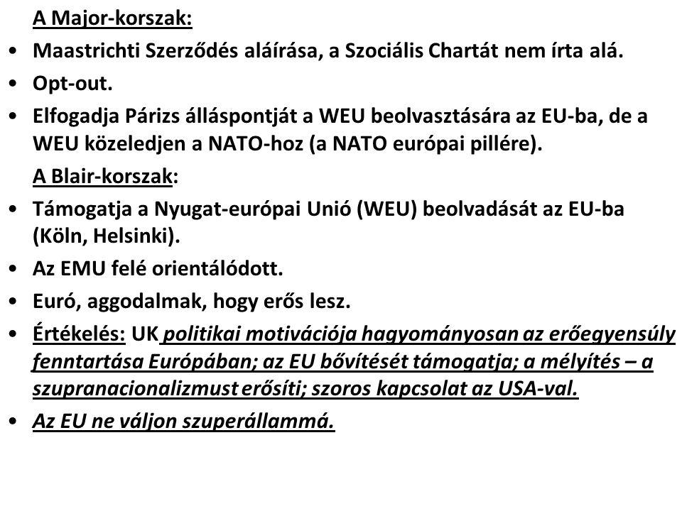 A Major-korszak: Maastrichti Szerződés aláírása, a Szociális Chartát nem írta alá. Opt-out.