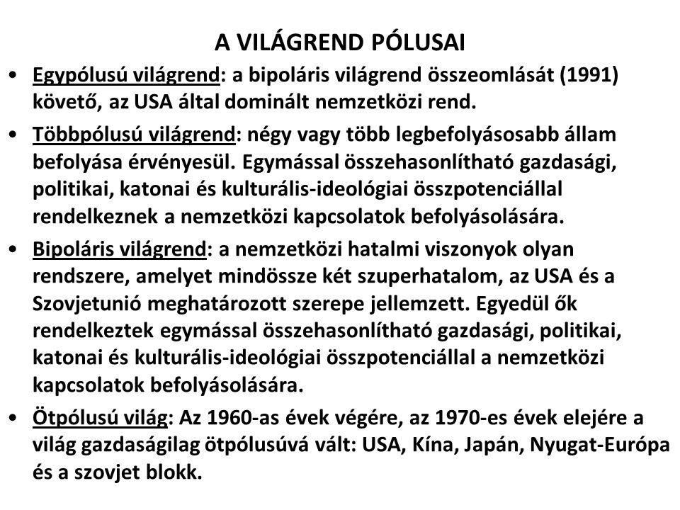 A VILÁGREND PÓLUSAI Egypólusú világrend: a bipoláris világrend összeomlását (1991) követő, az USA által dominált nemzetközi rend.