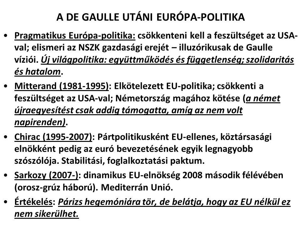 A DE GAULLE UTÁNI EURÓPA-POLITIKA